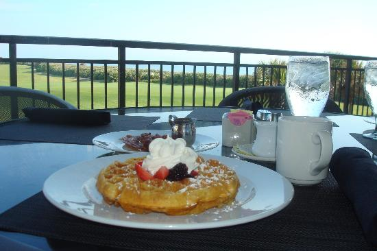 The Lodge at Hammock Beach: Belgium Waffles for Breakfast at the Atlantic Grille
