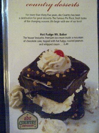 ABC Country Restaurant : Hot Fudge Mt Baker menu page