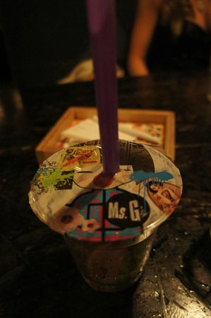 Ms G's: Pina Colada in a bubble tea cup