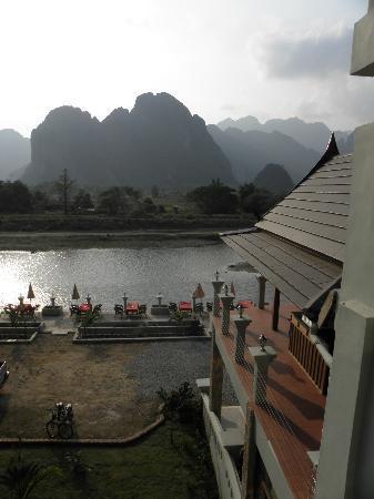 View from Silver Naga Hotel,  Ban Savang, Vang Vieng, Laos