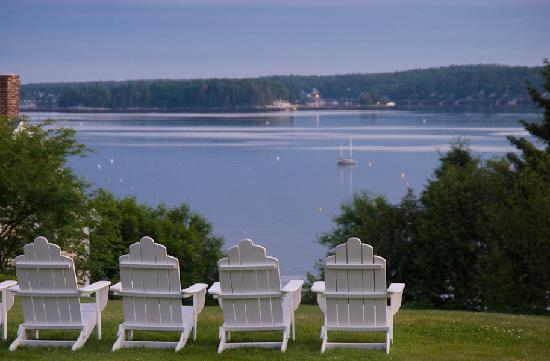 view of Boothbay Harbor from Topside Inn
