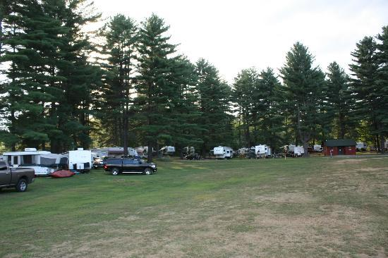 Lake George Riverview Campground: view of the campsites from the play area