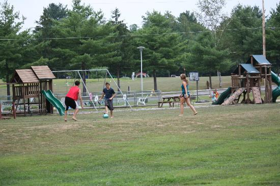 Lake George Riverview Campground: one of the many soccer games with new friends