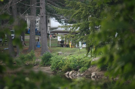 Lake George Riverview Campground : view of our site from the road entering the campground