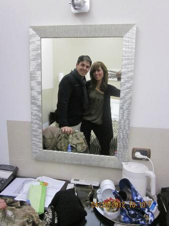 Basilio 55 Rome: Us in our room. Comfy, clean and modern. Bathroom was nice.