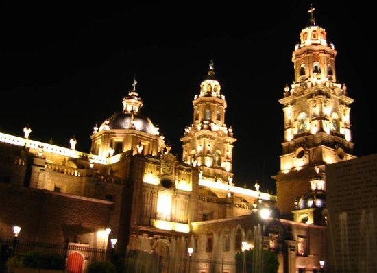 Michoacan, Mexico: Morelia Cathedral at night