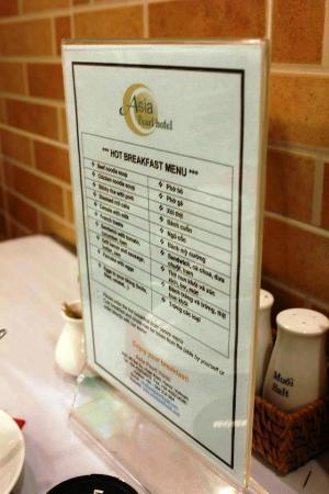 Hanoi Topaz Hotel: Breakfast Hot Menu