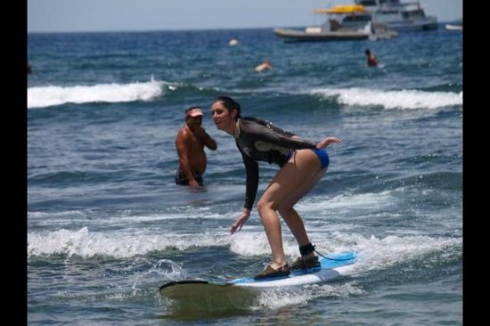 Outrageous Surf School : Surfing. Instructor in the background