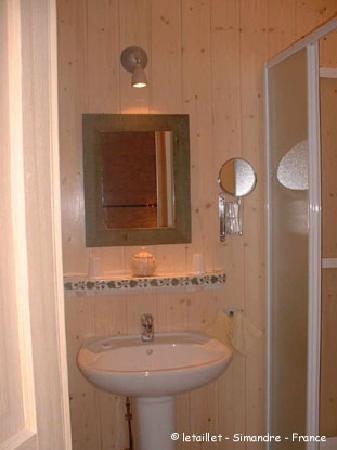 Le Taillet Chambres d'hotes en Bourgogne : chambre Fleurs cabinet de toilette