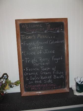 Sunrise Farm Bed and Breakfast: Here's the breakfast menu with a little message for my new husband and I