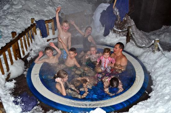 Chilly Powder: All the kids having lots of fun in the hot tub