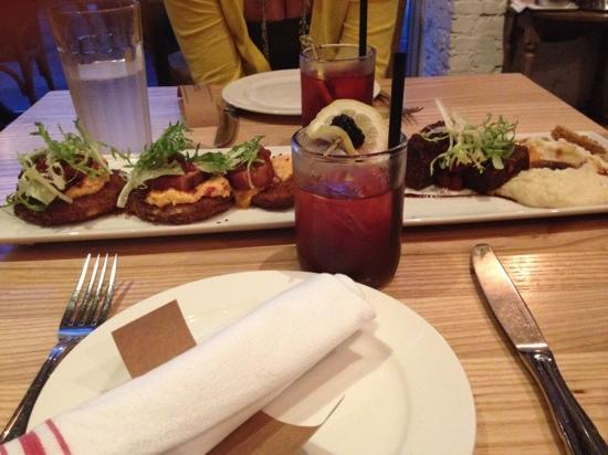 "Yardbird - Southern Table & Bar : fried green tomato BLT and l'il bit of ""meatloaf"" with blackberry bourbon lemonade"