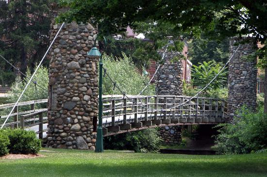Curwood Castle: Suspended Foot Bridge over Shiawassee River - Owosso, MI