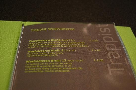 The Abbey of Saint Sixtus of Westvleteren: Beer menu - try all of them!