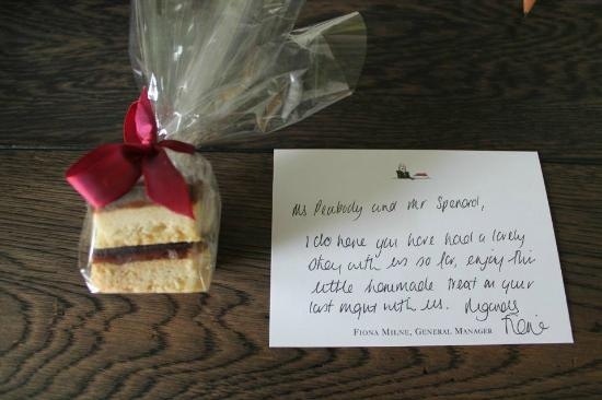 Thank you gift & note from staff - Picture of Knightsbridge Hotel ...