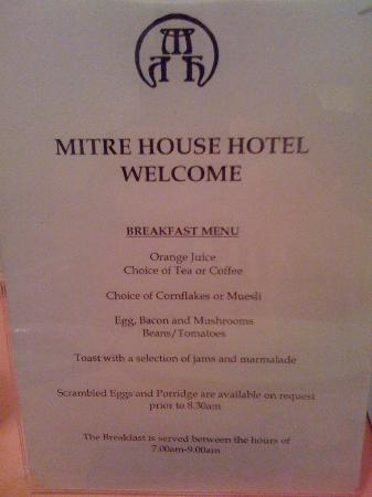 Mitre House Hotel: menu colazione