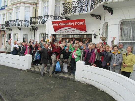 The Waverley Hotel: A happy group of travellers outside of The Waverley