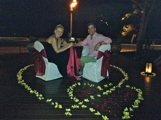 Anantara Seminyak Bali Resort: Special dinner arranged for us by hotel by the beach