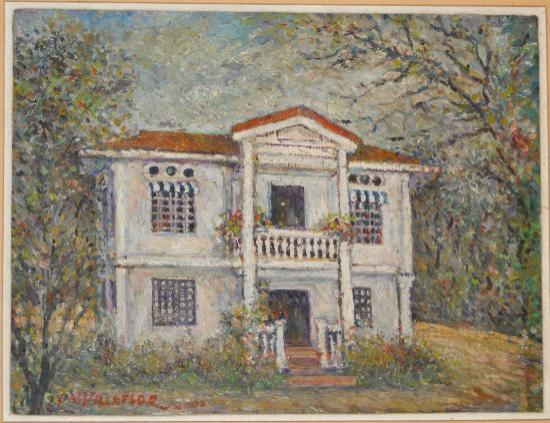 a painting of the old house of the owner which is now the Hotel Alejandro