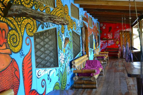 Kaya's Place: The balcony facing the beach. Very cool decoration and painting.