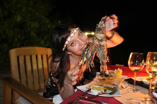 Robinson Club Maldives: Magnificent Restaurant Edel. I eat a lobster