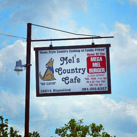 Tomball, TX: Sign Outside Mel's
