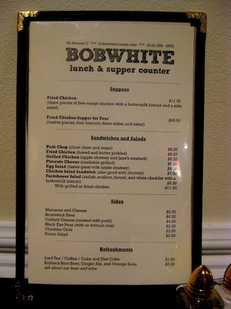 Photo of American Restaurant Bobwhite Lunch and Supper Counter at 94 Avenue C, New York, NY 10009, United States
