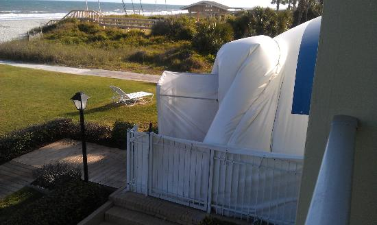 Beach House Golf & Racquet Club: view from balcony of blowup dome covering outside pool