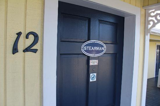 Amelia's Landing Hotel: The entrance to the Stearman Room.  Each room has a different airplane theme.