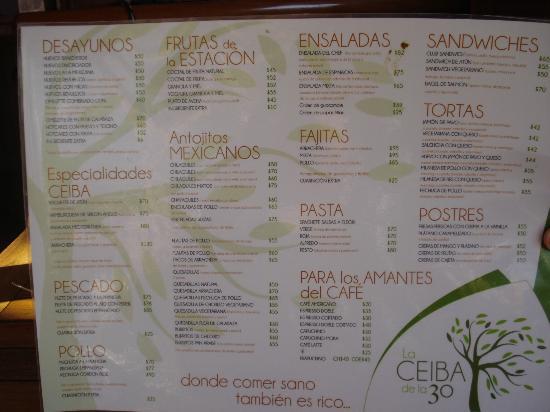 La Ceiba de la 30: Menu