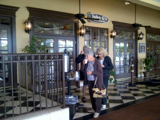 Manalapan, FL: Mom had some coffee while waiting on line to get into John G's Restaurant! It's worth the wait!
