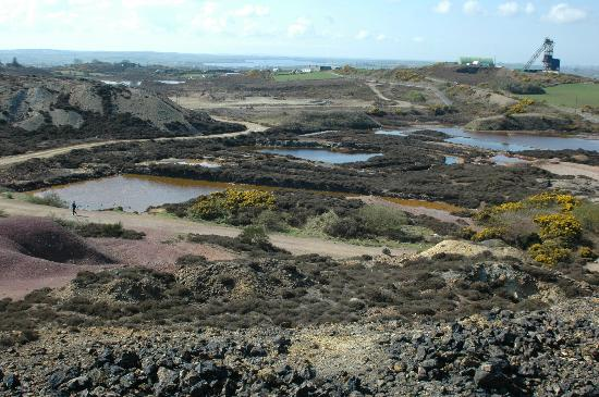 Amlwch Copper Kingdom: View from top of slag heap, Amlwch