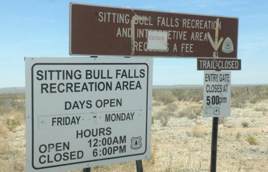 Sitting Bull Falls: Closed on 4-29-12