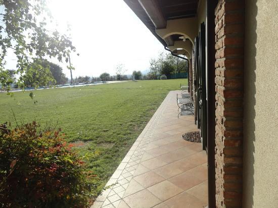 Garda Country House: il giardino con piscina visto dalla camera