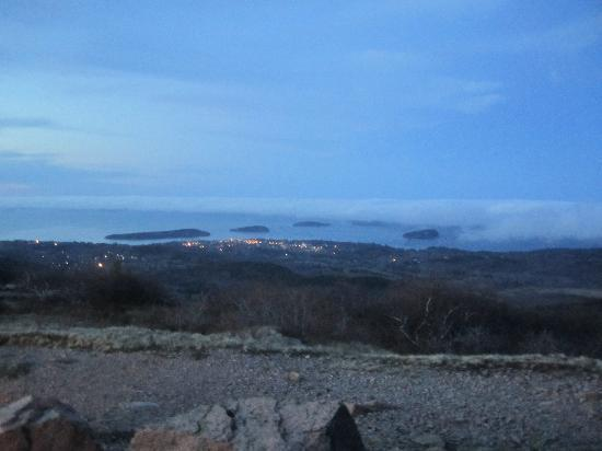 Frenchman Bay: View of Bar Harbor and Frenchman's Bay from Cadillac Mt.