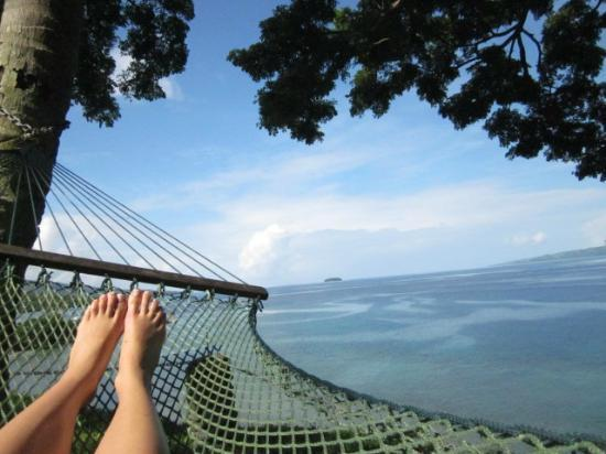 Nakia Resort & Dive: View of Somosomo Strait relaxing on the hammock