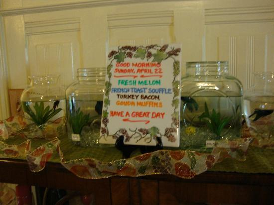 Hennessey House Bed and Breakfast: Daily Breakfast Menu - and Loved all the fish bowls!