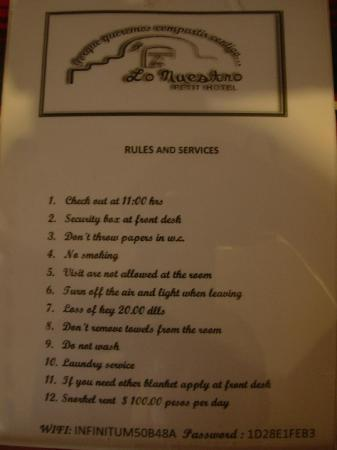 Lo Nuestro Petite Hotel: Lots of rules. Yikes!
