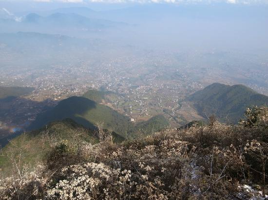 Sadhana Bhumi Himalaya For Life Research: View from mountain range behind the centre. SBHFLR visible in the lower middle of the image