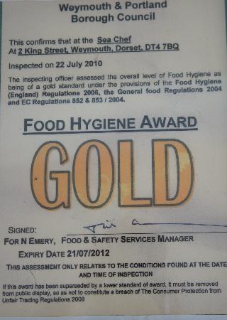 the sea chef gold hygiene award