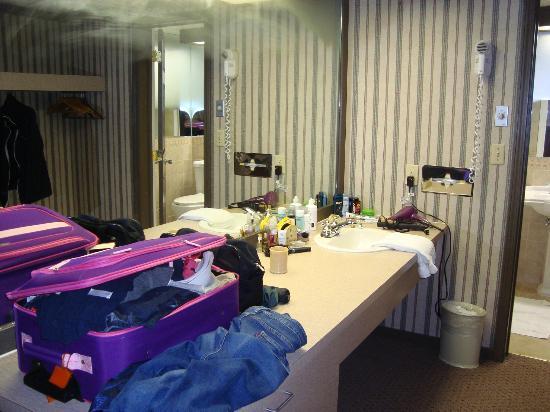 Riverhouse Motor Lodge: Vanity Area outside of the bathroom