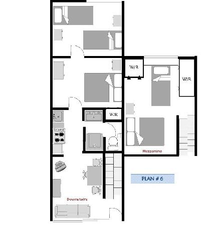 Hobson Motor Inn & Wings: Standard 3 bedroom floor plan.