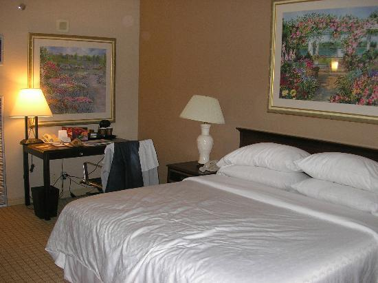 DoubleTree by Hilton Hotel Newark Airport: Room 1212 - Bed and working desk