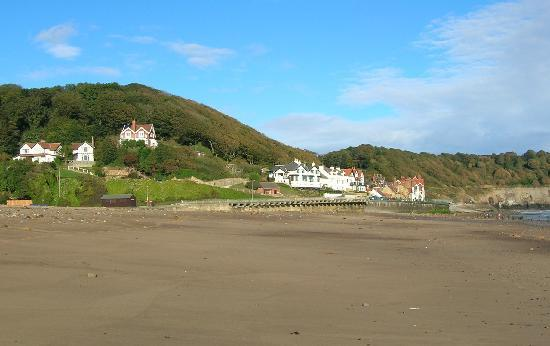 View  of Sandsend Cottages from the beach