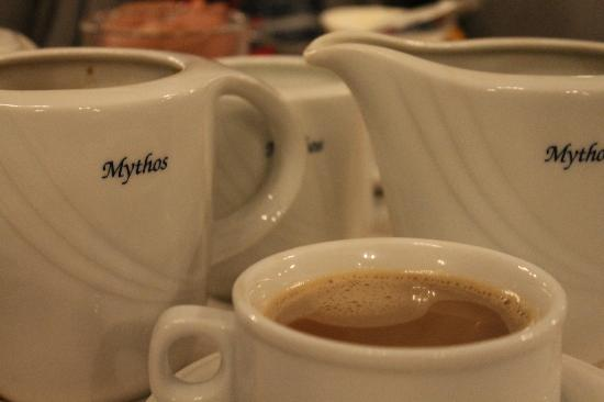 Mythos Hotel: breakfast with coffee