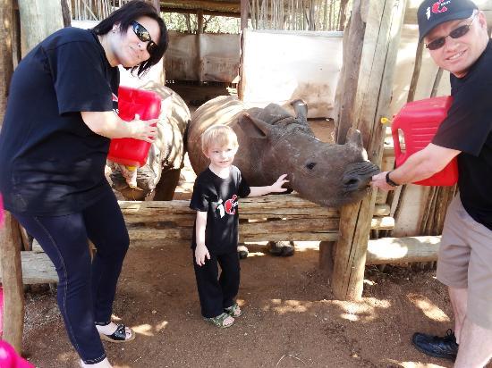 Elandela Private Game Reserve: FEEDING THE RHINO