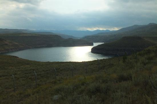 Katse Lodge: View of the Katse Dam in the evening