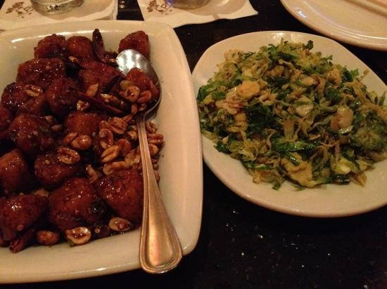 P F Chang's China Bistro: kung pao scallops & brussel sprouts