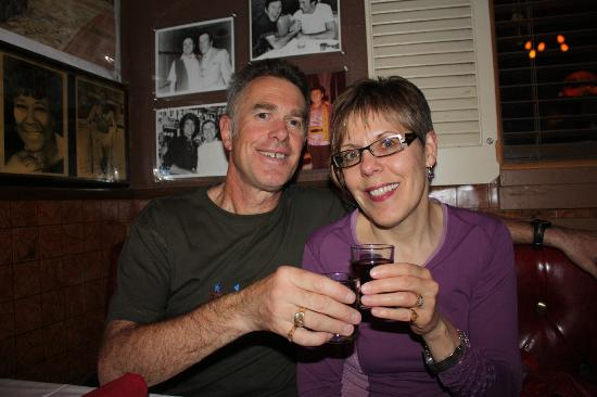 Battista's Hole in the Wall: Enjoying a glass of house red !