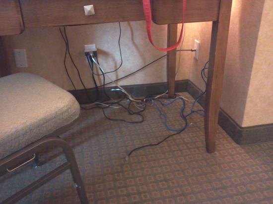 Wyndham Garden Phoenix Midtown : Mess of wires on floor.